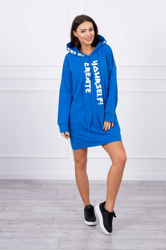 Mėlyna padidinto modelio suknelė su gobtuvu_131167