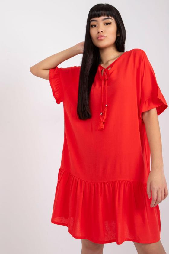Mėlyna padidinto modelio suknelė su gobtuvu_131168