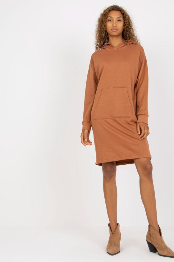 Pilkos spalvos medvilninė laisvalaikio suknelė su gobtuvu