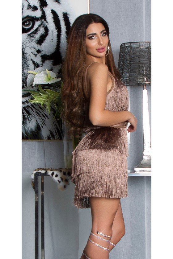 Kapučino spalvos suknelė dekoruota kutais_136723