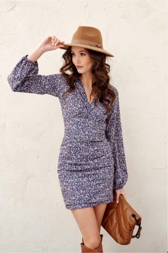 Kapučino spalvos minimalistinė suknelė su sagutėmis_137159