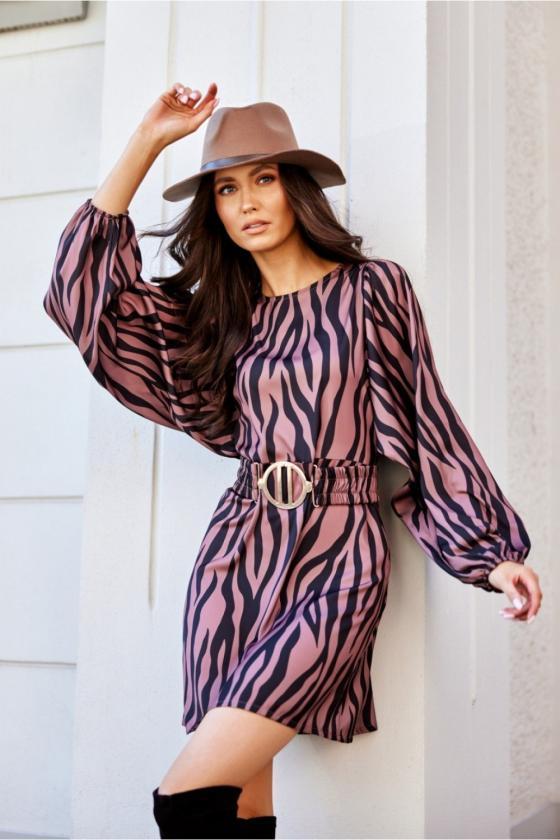 Pilkos spalvos minimalistinė suknelė su sagutėmis