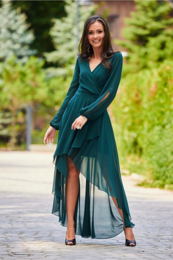 Neoninės rožinės spalvos minimalistinė suknelė su sagutėmis_137199