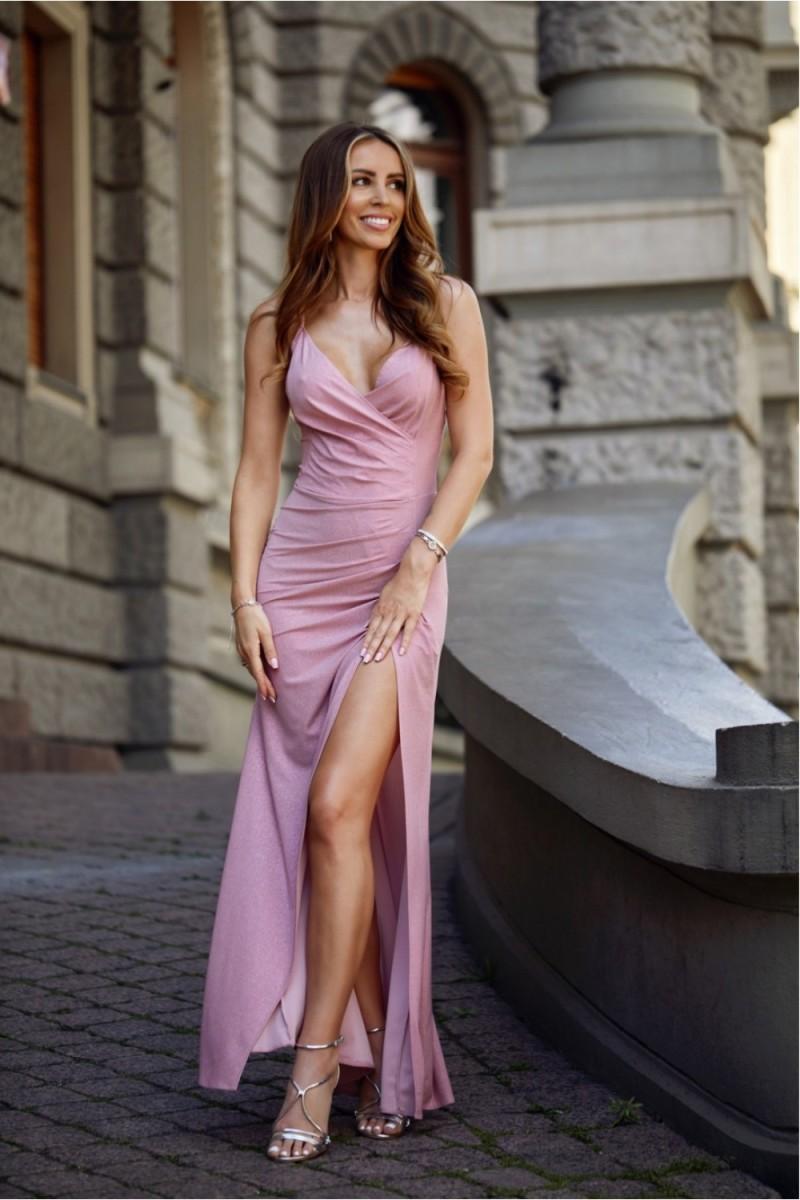 Neoninės žalios spalvos minimalistinė suknelė su sagutėmis_137206