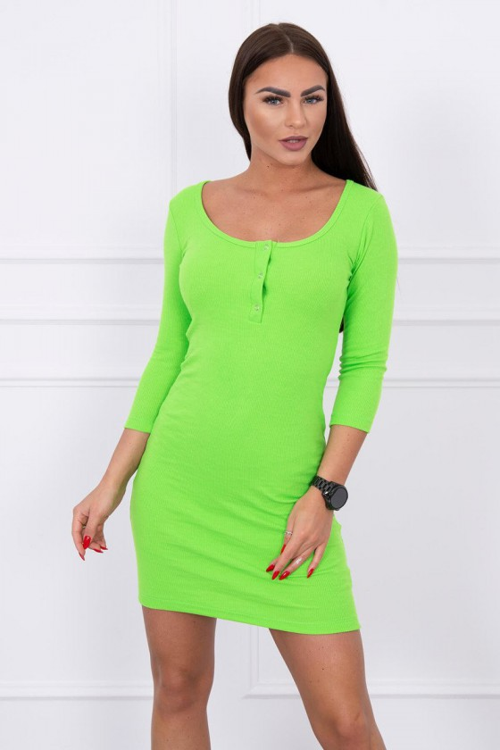 Neoninės žalios spalvos minimalistinė suknelė su sagutėmis