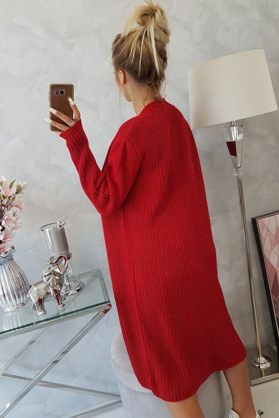 Raudonos spalvos ilgas kardiganas 2019-2_137854