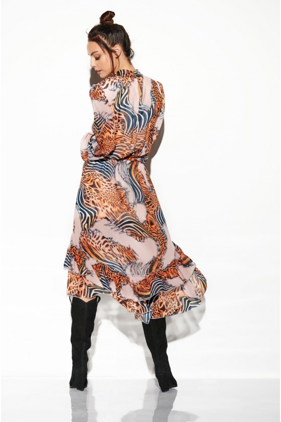 Maxi ilgio raštuota suknelė su trumpesniu priekiu_138055