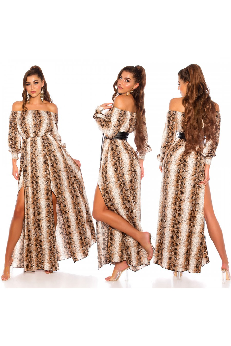 Gyvatės rašto maxi ilgio satino imitacijos suknelė_139433