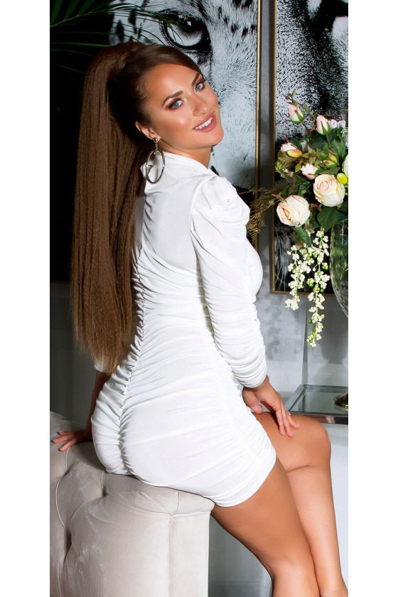 Baltos spalvos raukiniuota suknelė_139462