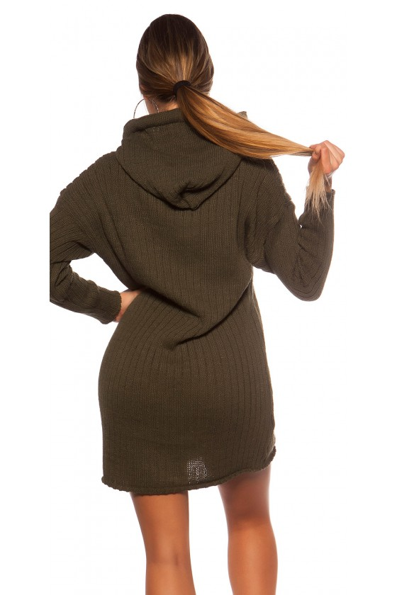 Chaki spalvos megzta oversize suknelė su gobtuvu_139549