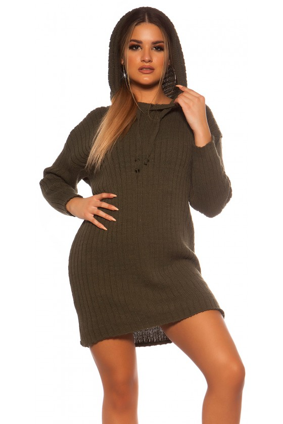 Chaki spalvos megzta oversize suknelė su gobtuvu_139550