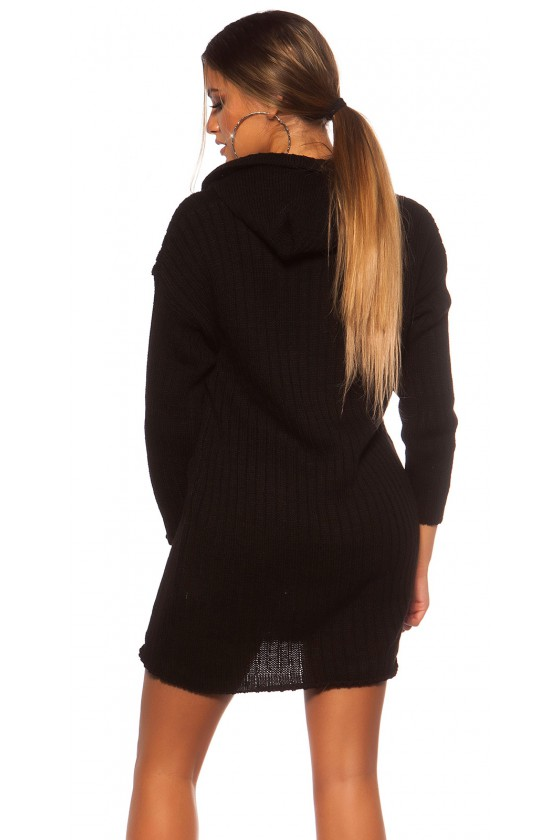 Juodos spalvos megzta oversize suknelė su gobtuvu_139553