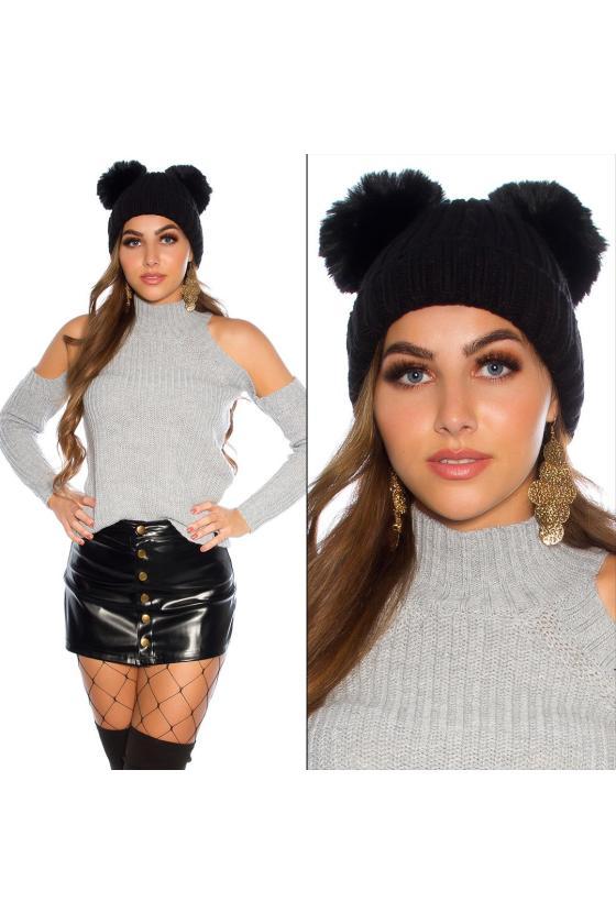 Pilka asimetriška suknelė
