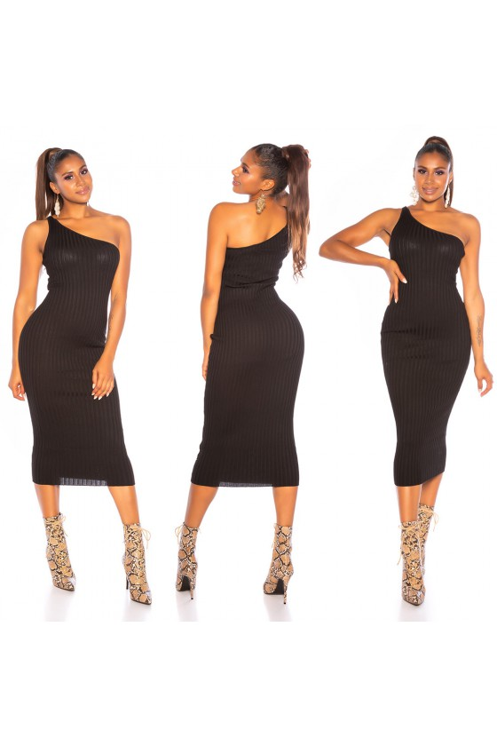 Juoda asimetriška suknelė_142493