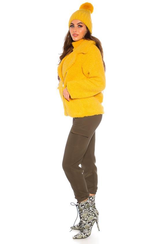 Smėlio spalvos megzta suknelė su dirželiu_142565