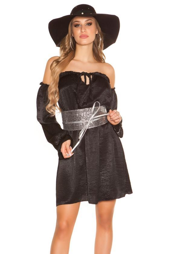 Juodos spalvos suknelė dekoratyviomis rankovėmis