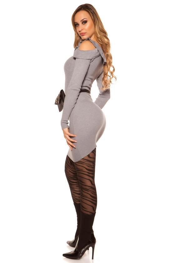 Geltonos spalvos suknelė dekoratyviomis rankovėmis_143886