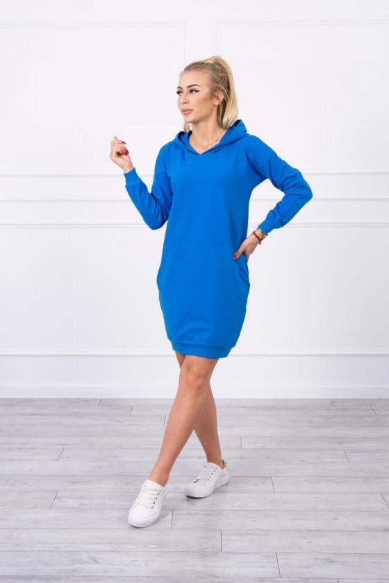 Mėlynos spalvos medvilninė laisvalaikio suknelė su gobtuvu_144102