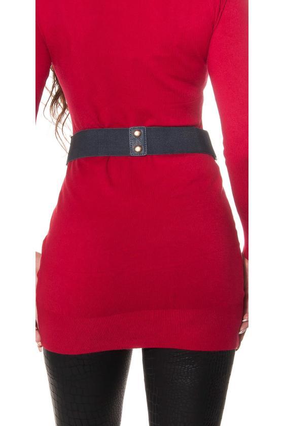Mėlynos spalvos medvilninė laisvalaikio suknelė su gobtuvu