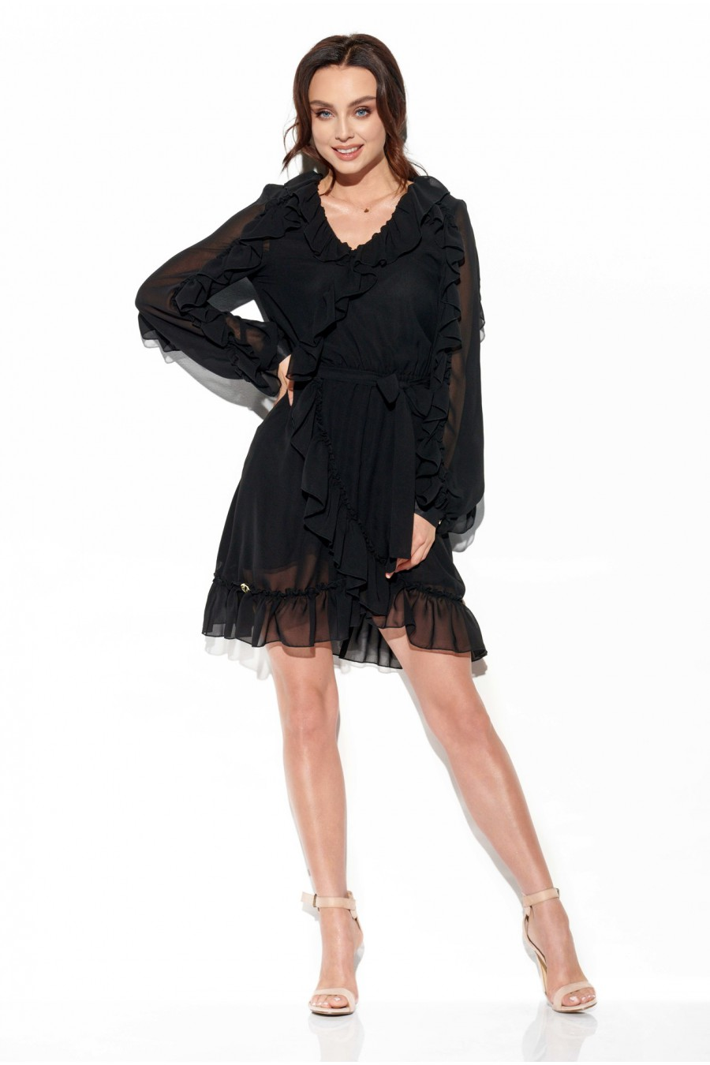 Juoda šifoninė suknelė su šilku_144183