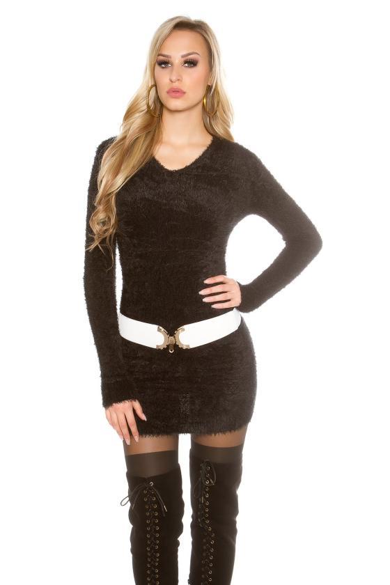 Kapučino spalvos šifoninė suknelė su šilku_144190