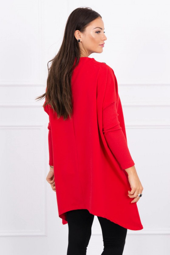 Raudonos spalvos asimetriško kirpimo tunika_144667