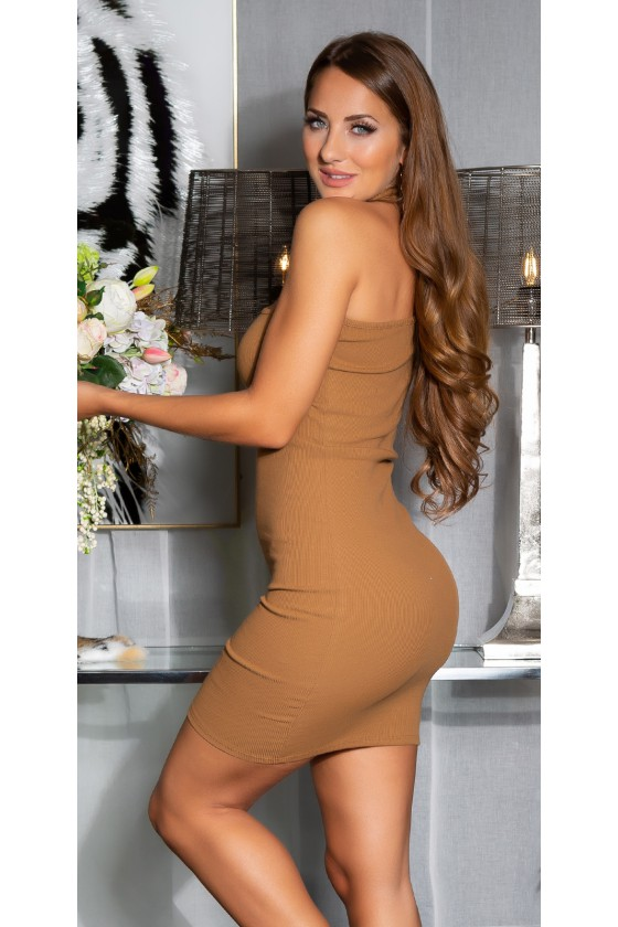 Kapučino spalvos asimetriška suknelė_145344