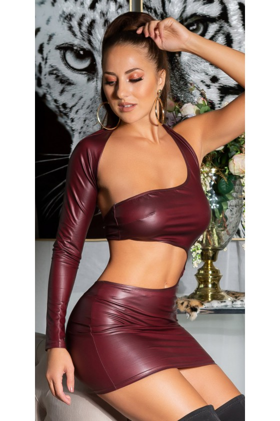 Bordinės spalvos odos imitacijos suknelė K20338