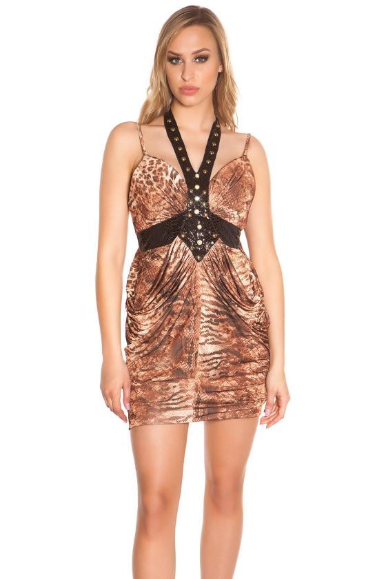 Bordinės spalvos laisvalaikio suknelė L346