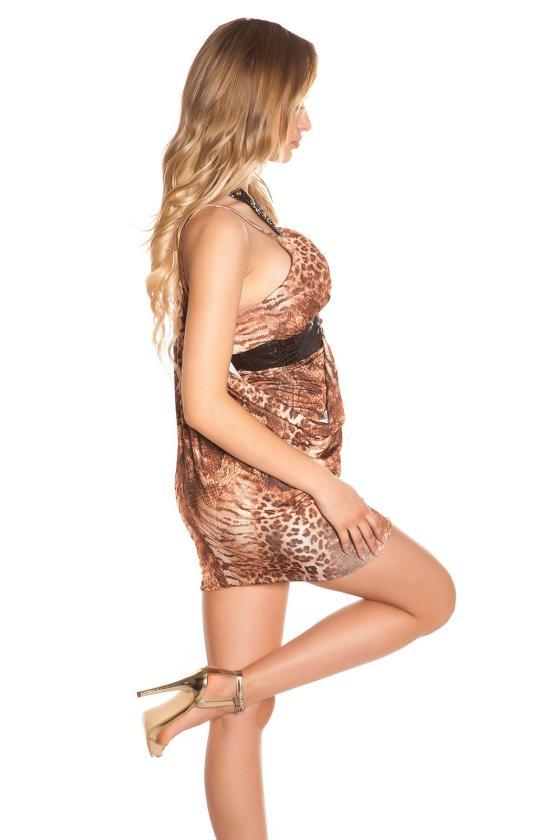 Raudonos spalvos surišama suknelė L345