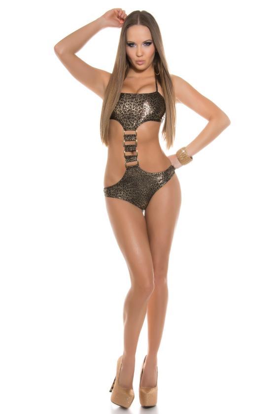 Leopardo rašto surišama suknelė L345D