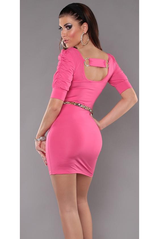 Leopardo rašto surišama suknelė L345D_146812