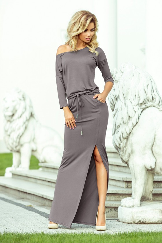 Ilga pilka laisvalaikio suknelė 220-6