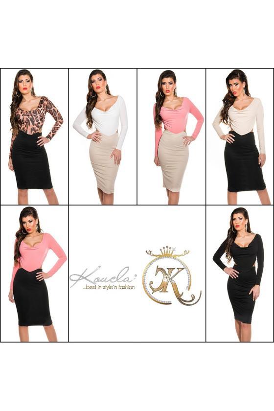 Efektinga baltos spalvos odos imitacijos suknelė