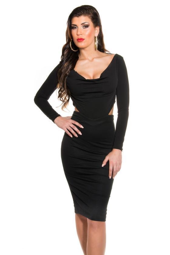 Efektinga raudonos spalvos odos imitacijos suknelė