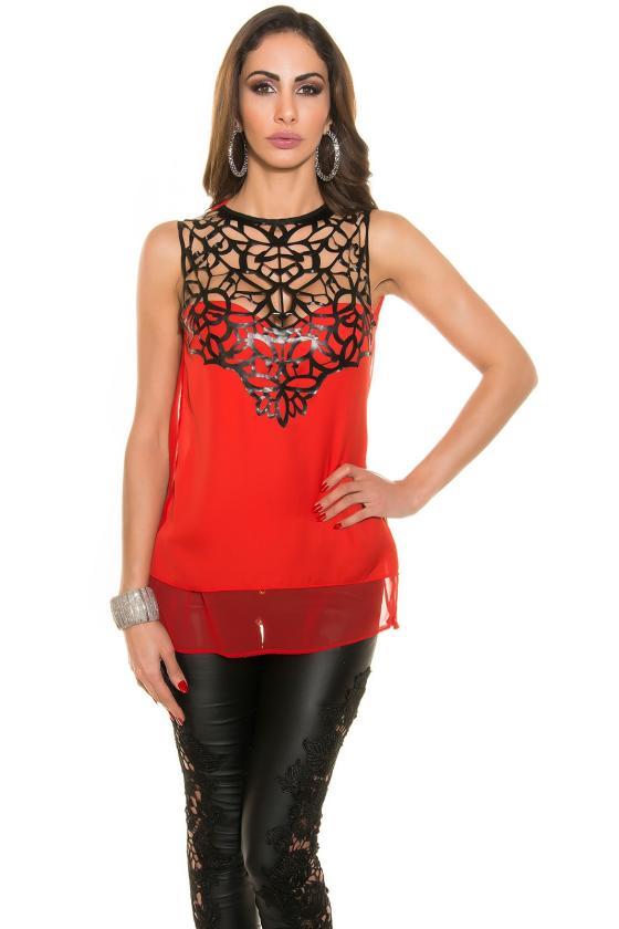 Efektinga raudonos spalvos odos imitacijos suknelė_147926