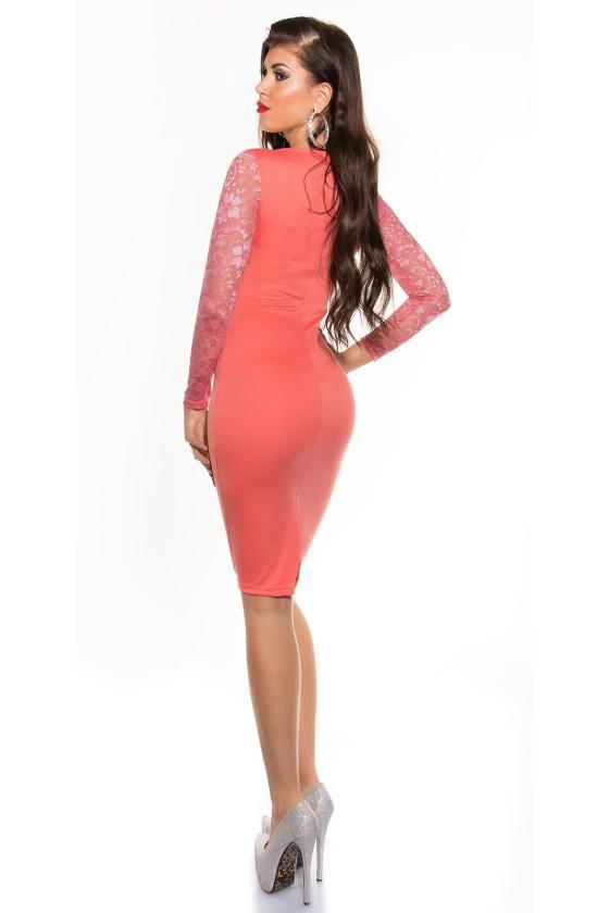 Efektinga raudonos spalvos odos imitacijos suknelė_147927
