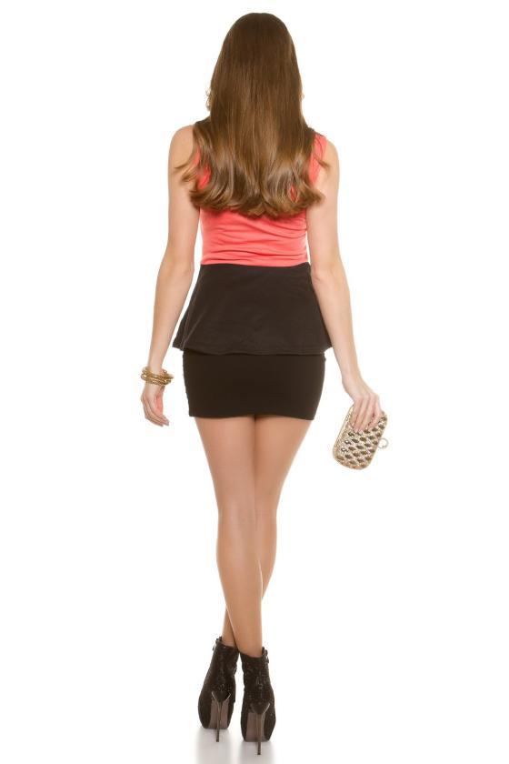 Efektinga juodos spalvos odos imitacijos suknelė
