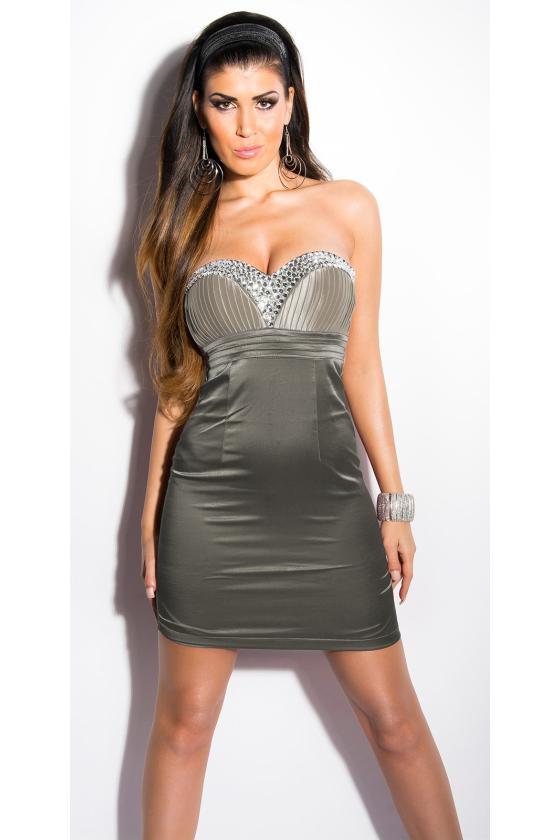 Efektinga juodos spalvos odos imitacijos suknelė_147934