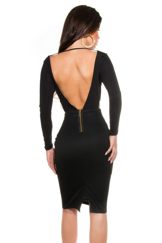 Efektinga juodos spalvos odos imitacijos suknelė_147935
