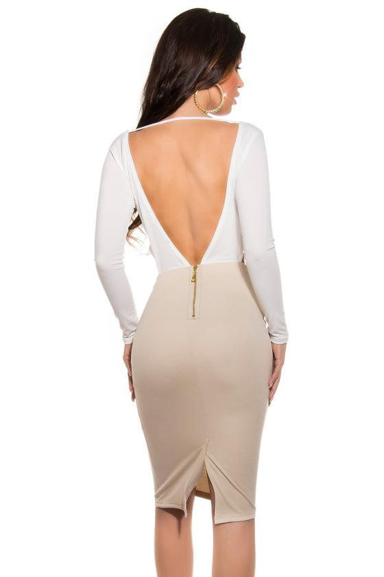 Šampano spalvos seksuali mini suknelė_148045
