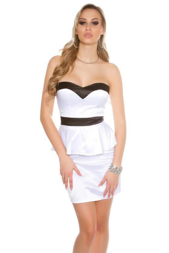 Bordinės spalvos satino imitacijos mini suknelė_148656