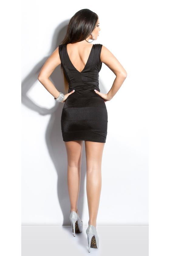 Bordinės spalvos satino imitacijos mini suknelė