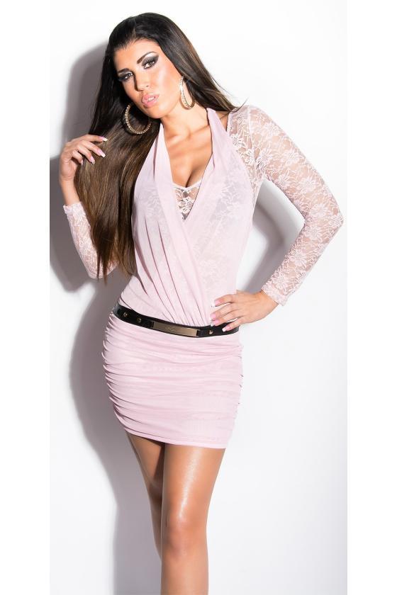 Smaragdo spalvos satino imitacijos mini suknelė