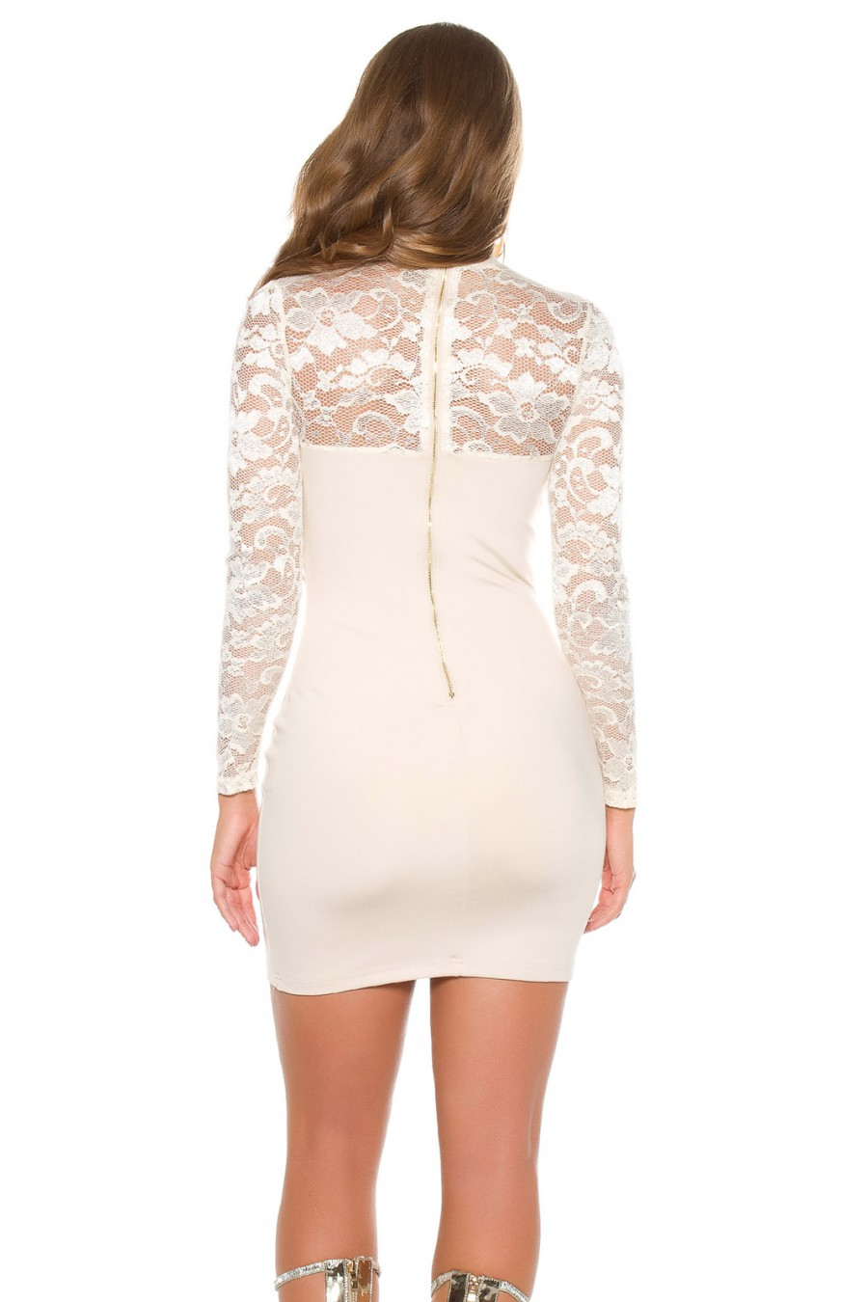 Smėlio spalvos mini suknelė su gipiūrinėmis rankovėmis_148722
