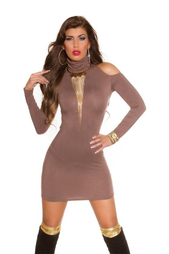 Elastinga fuksijų spalvos suknelė dekoruota sagomis