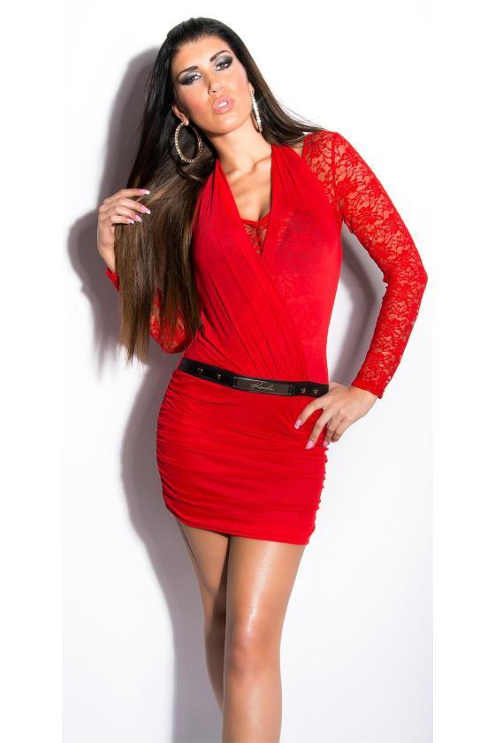 Elastinga garstyčių spalvos suknelė dekoruota sagomis_148911