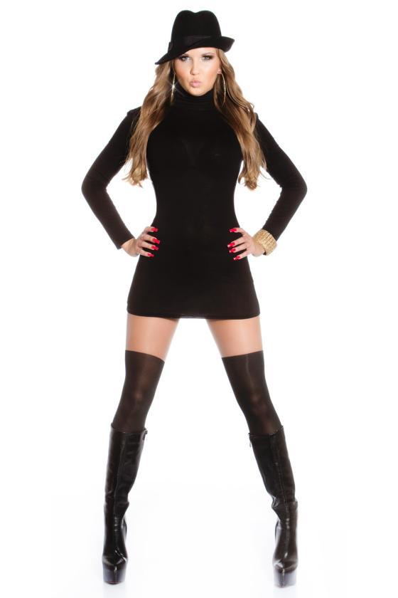 Elastinga garstyčių spalvos suknelė dekoruota sagomis