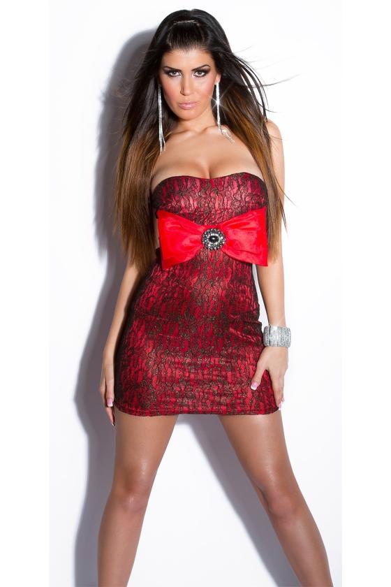 Elastinga garstyčių spalvos suknelė dekoruota sagomis_148913