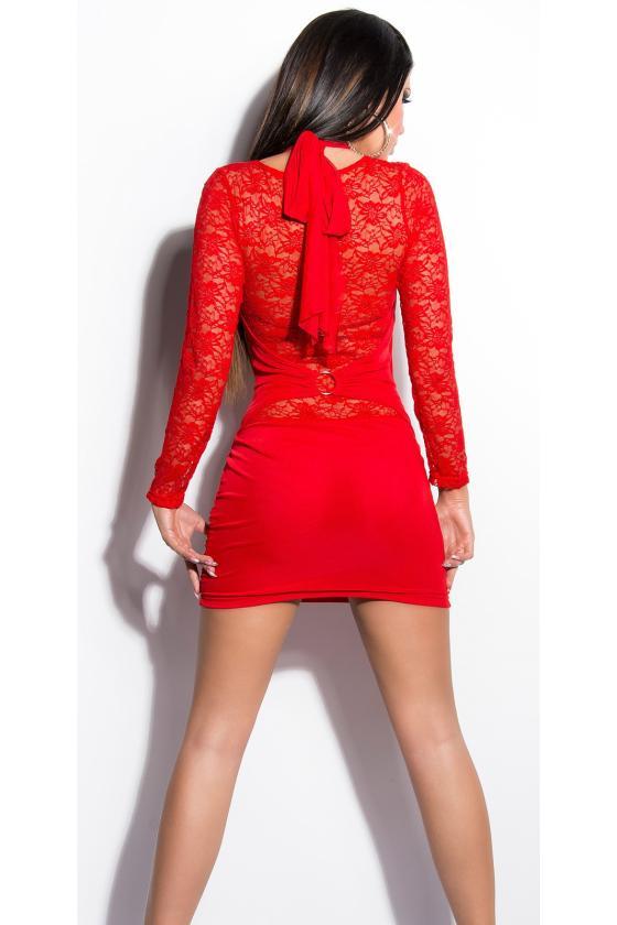 Elastinga chaki spalvos suknelė dekoruota sagomis_148924